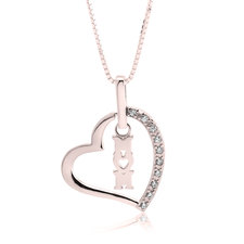 Mom Heart Necklace with Cubic Zirconia