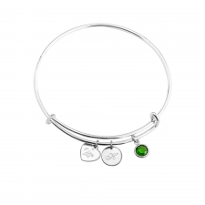 Engraved Heart And Circle Charm Bangle