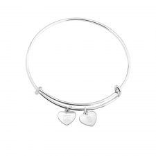 Two Engraved Hearts Charm Bangle