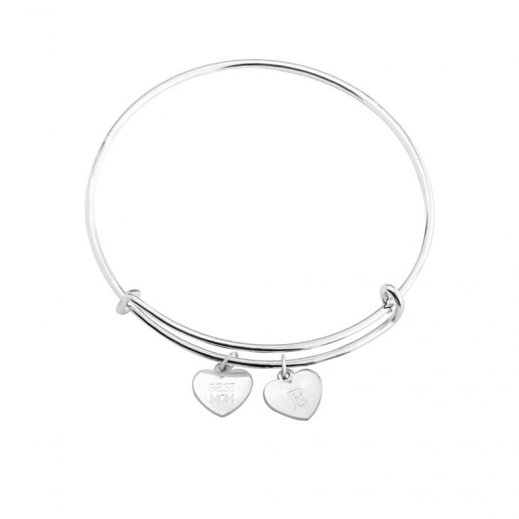 Bracelet Jonc avec Charms Cœurs Gravés