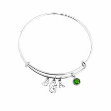 Bangle With Initials Heart And Birthstone