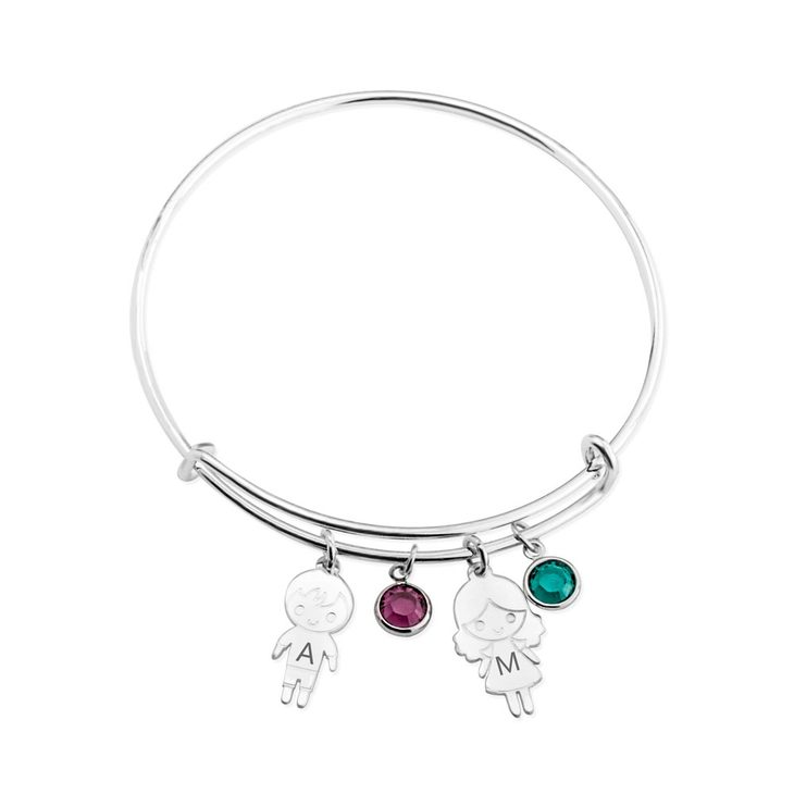 Children And Birthstone Charm Bangle