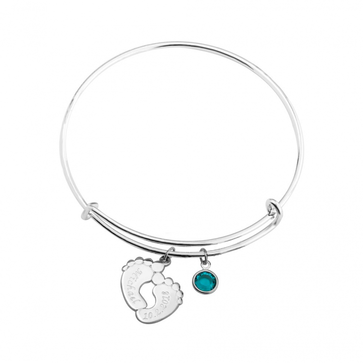 Charm Bangle With Feet And Birthstone