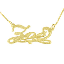 Brushed 14k Gold Bianca Line Name Necklace