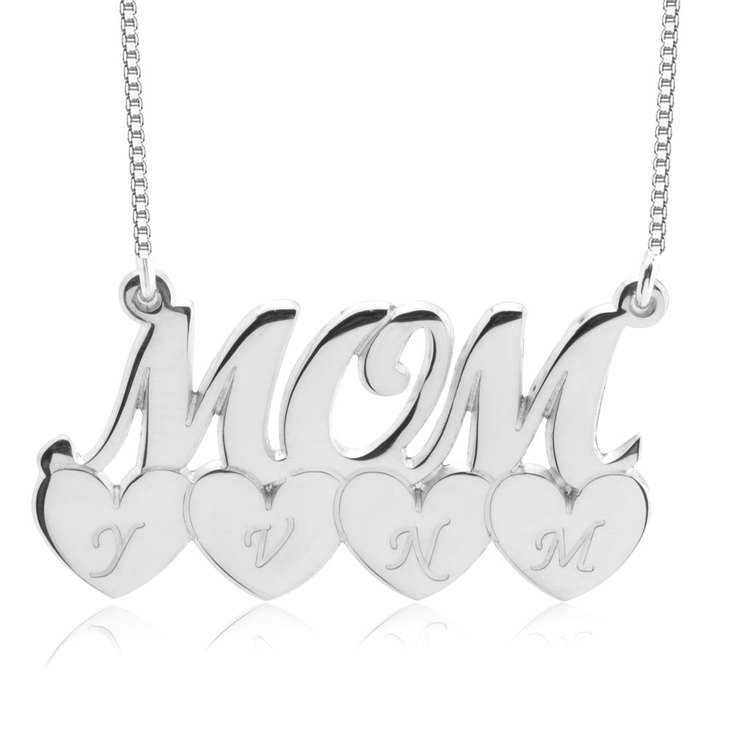 Mom Necklace With Heart Initials  - Picture 4