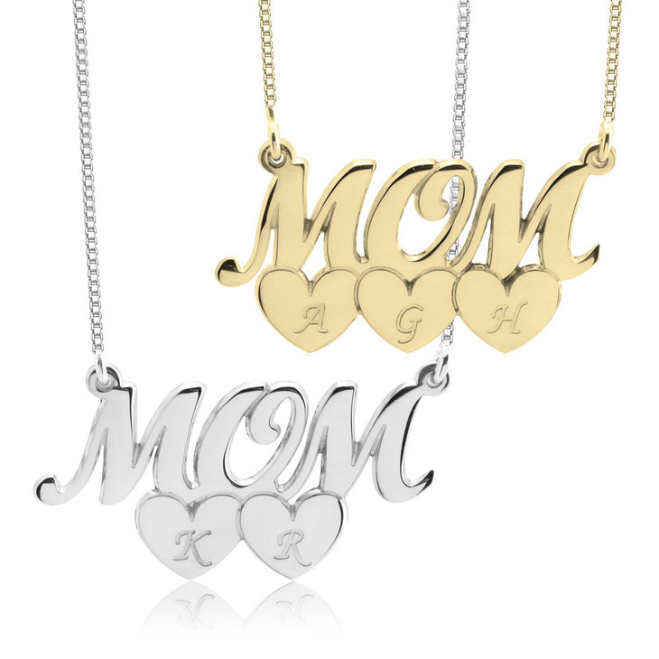 Mom Necklace With Heart Initials
