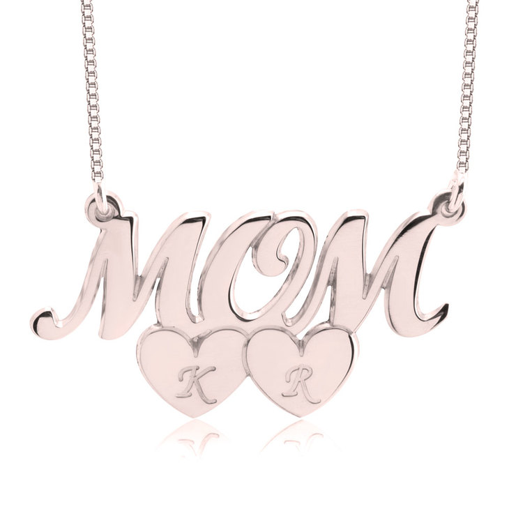 Mom Necklace With Heart Initials  - Picture 2