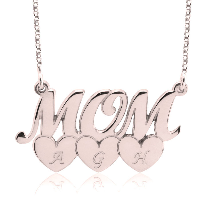 Mom Necklace With Heart Initials - Picture 3