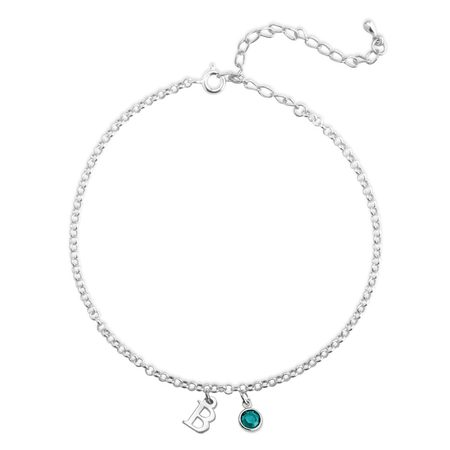 Personalised Initial Anklet with Birthstone