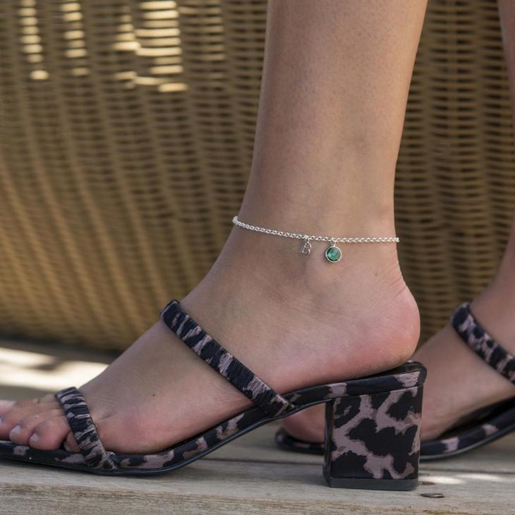 Personalized Initial Anklet with Birthstone - Model