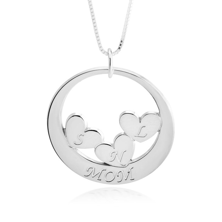 Custom Mom Necklace With Children's Initials  - Picture 3