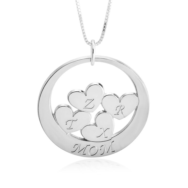 Custom Mom Necklace With Children's Initials  - Picture 4