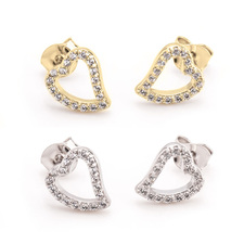 Open Heart Earrings With Cubic Zirconia