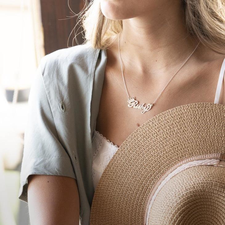Custom Crown Name Necklace - Model