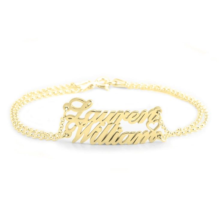 Two Name Bracelet With Heart