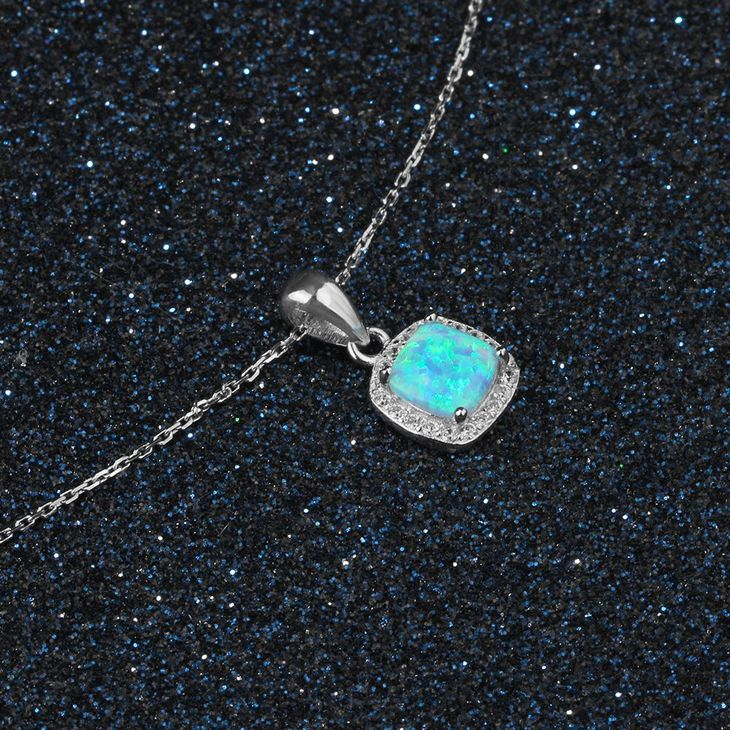 Square Opal Necklace - Picture 2