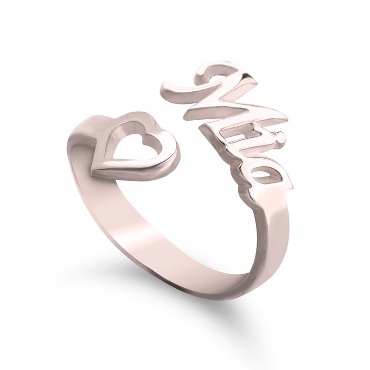 Personalised Name Ring With Heart