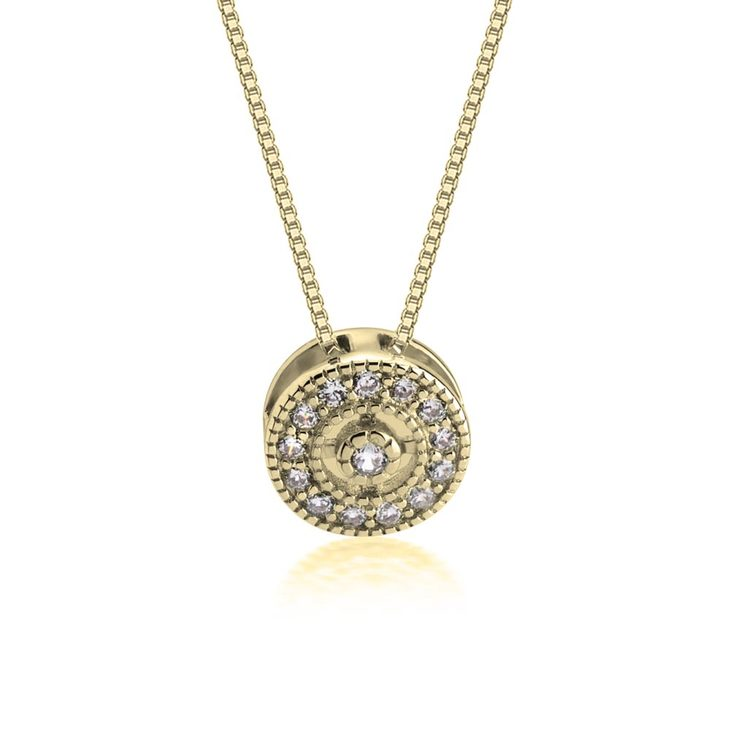 Round Pendant Necklace With Zirconia