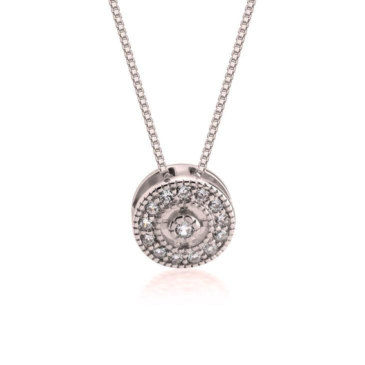 Round Pendant Necklace With Zirconia