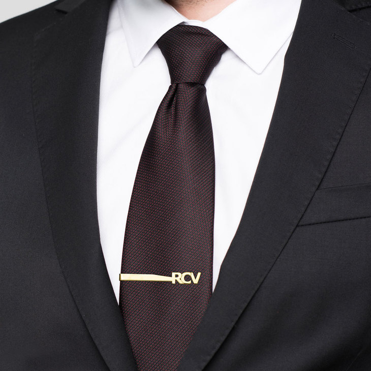 Cut Out Tie Clip With Initials - Picture 2