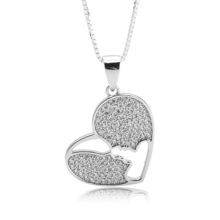 Love Heart Necklace With Zirconia