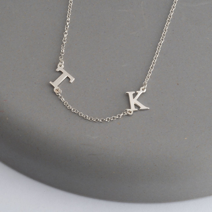 Sideways Initial Letter Necklace - Model