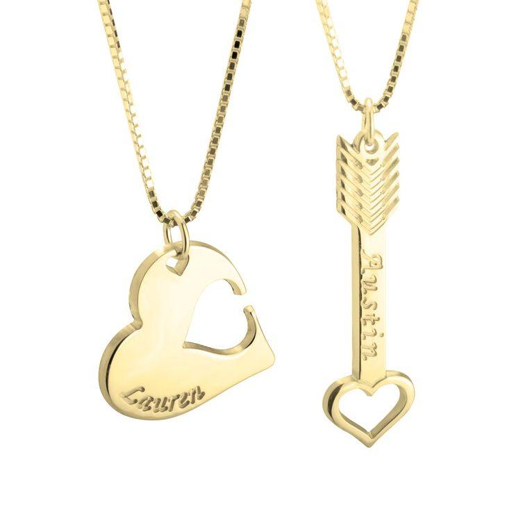 Heart & Arrow Interlocking Couple Necklace