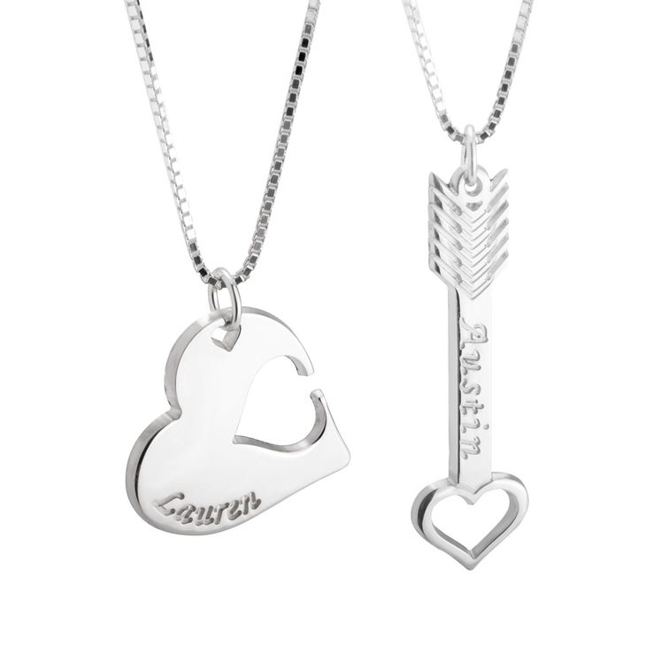 Heart & Arrow Interlocking Couple Necklace