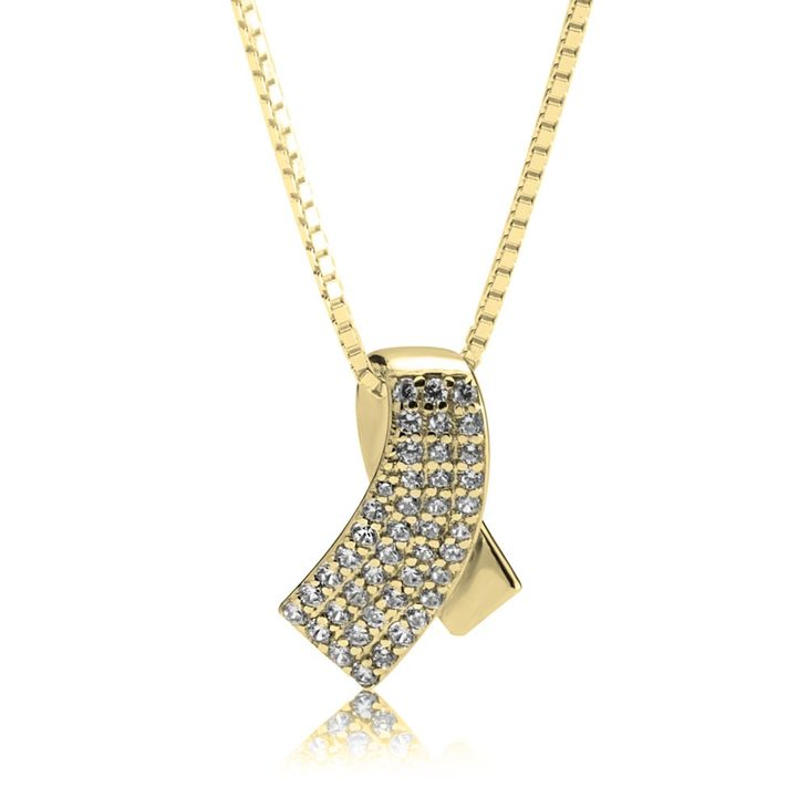 Ribbon Necklace With Zirconia