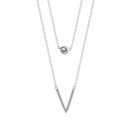 V Shaped Necklace With Stone