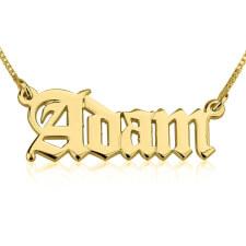 14K Gold English Style Name Necklace