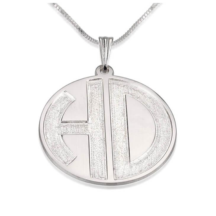 Sterling Silver 2 Sparkling Letters Monogram Necklace