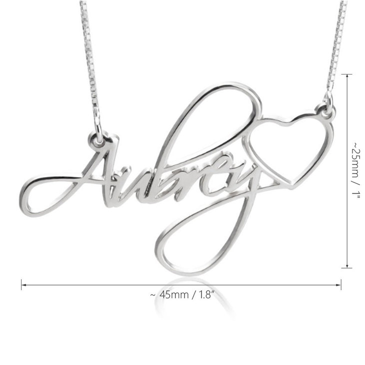 Custom Name Necklace With Heart - Information