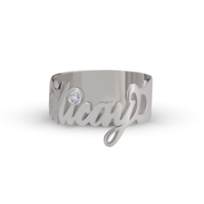 Nameplate Ring With Zirconia