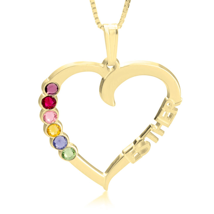Heart Shaped Pendant With Birthstones - Picture 2