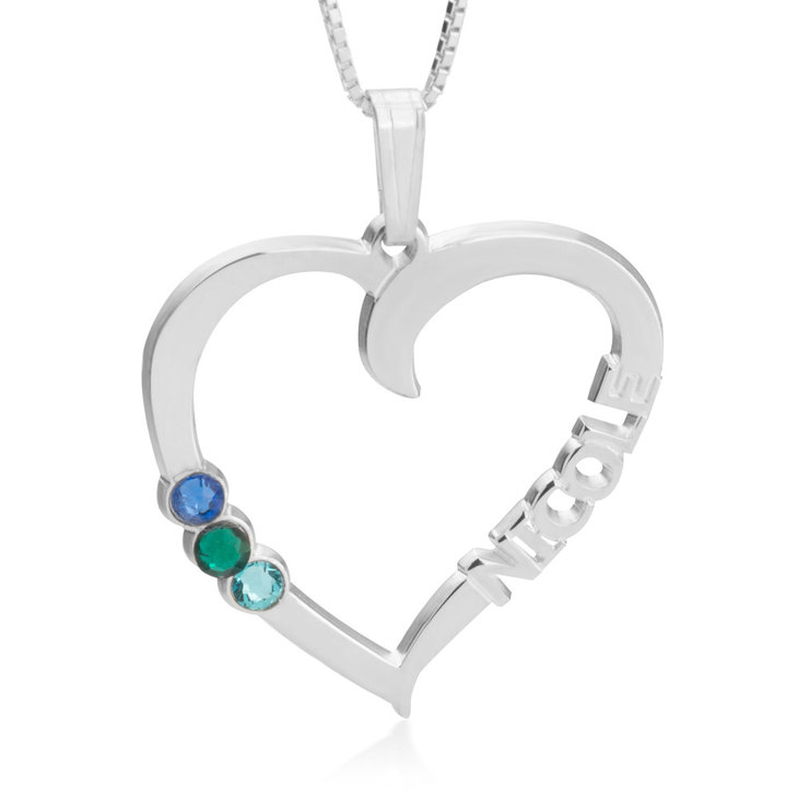 Heart Shaped Pendant With Birthstones