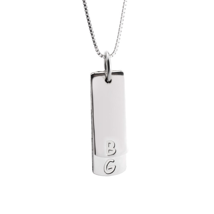 Vertical Bar Necklace With Initials
