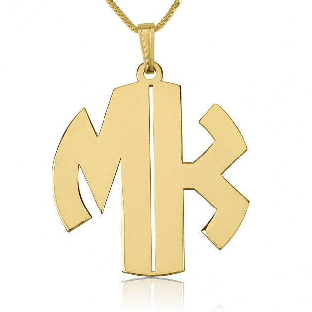 24k Gold Plated 2 Letters Capital Monogram Necklace