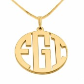 24k Gold Plated 3 Letters Capital Border Monogram Necklace