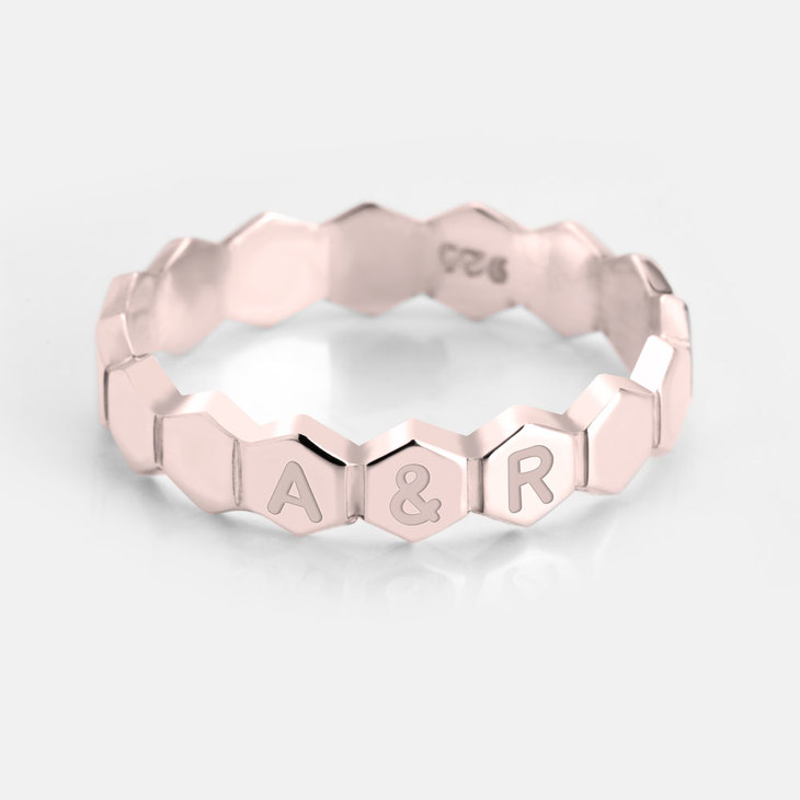 Personalized Honeycomb Ring - Picture 2