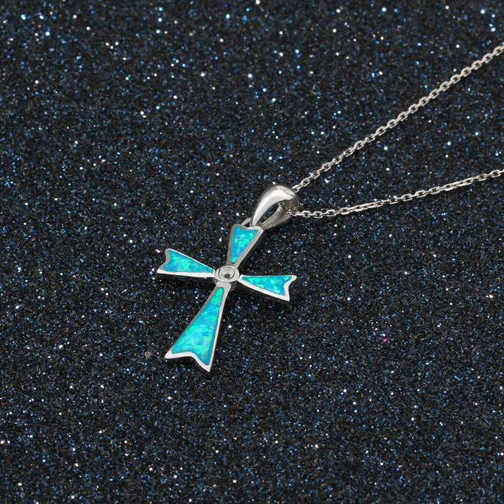 Opal Cross Necklace - Picture 2