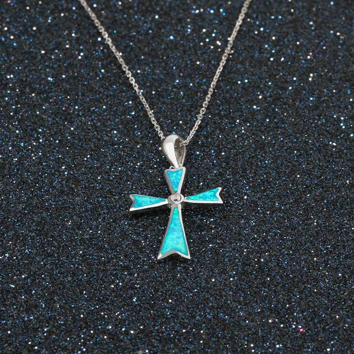 Opal Cross Necklace - Picture 3