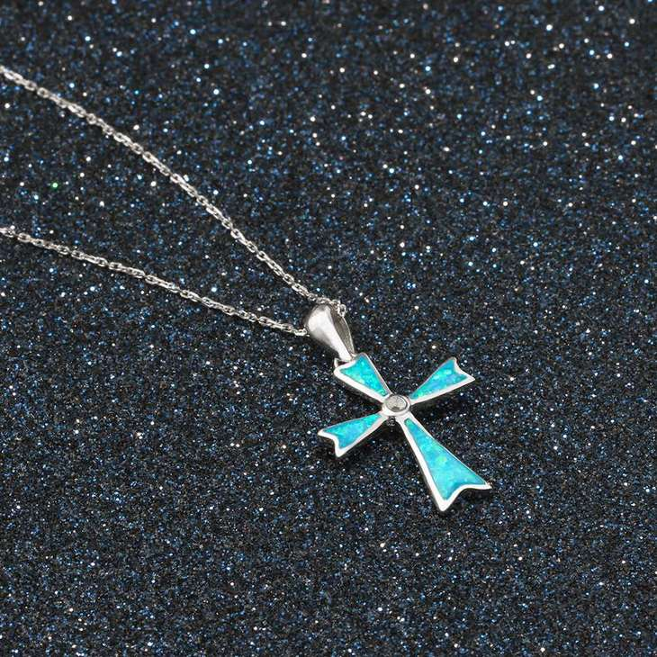 Opal Cross Necklace - Picture 4