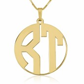24k Gold Plated 2 Letters Capital Border Monogram Necklace