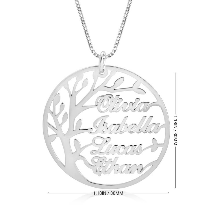 Family Tree Necklace with Names - Information