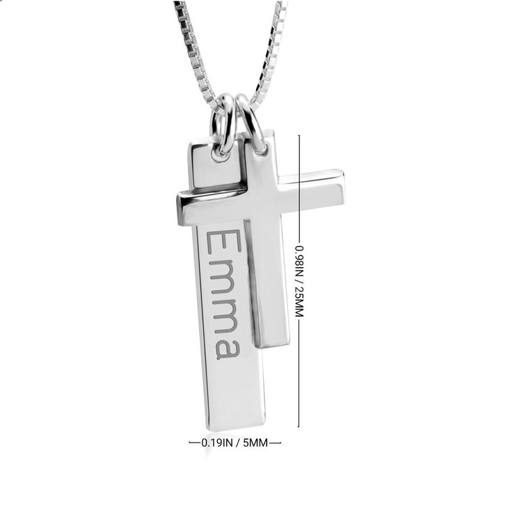 Engraved Bar Necklace with Cross - Information
