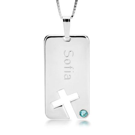 Personalized Birthstone Cross Bar Name Necklace