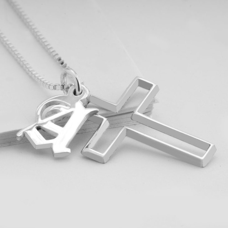 Cross Necklace with Initial - Picture 2