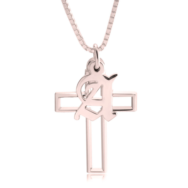 Cross Necklace with Initial
