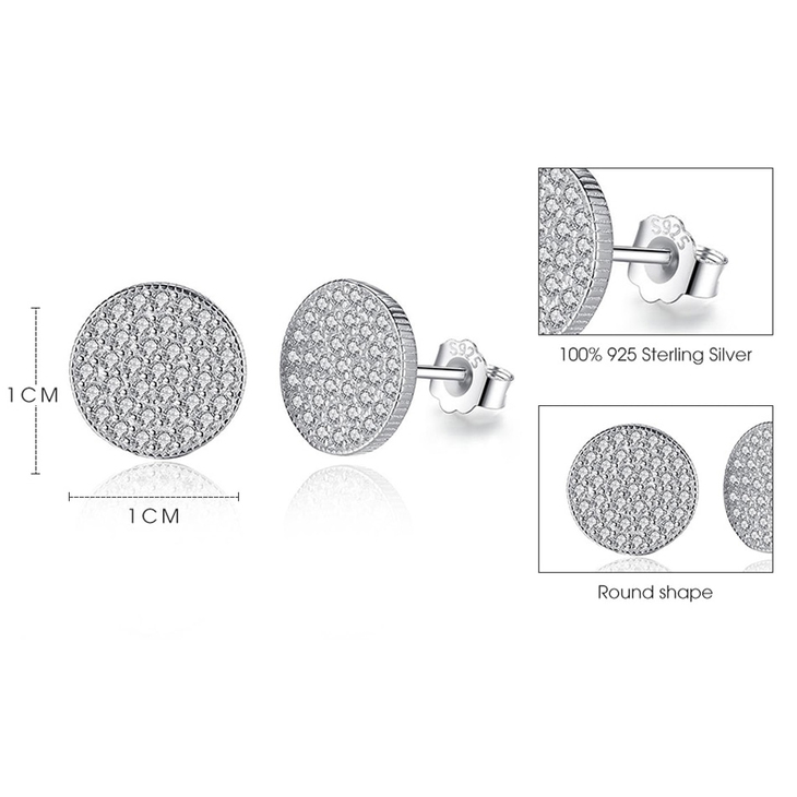 Round Cubic Zirconia Stud Earrings - Picture 2